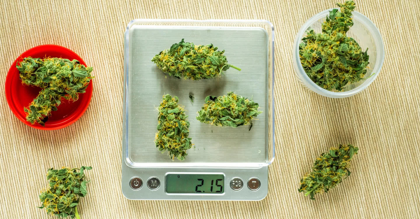 weighing marijuana on a scale