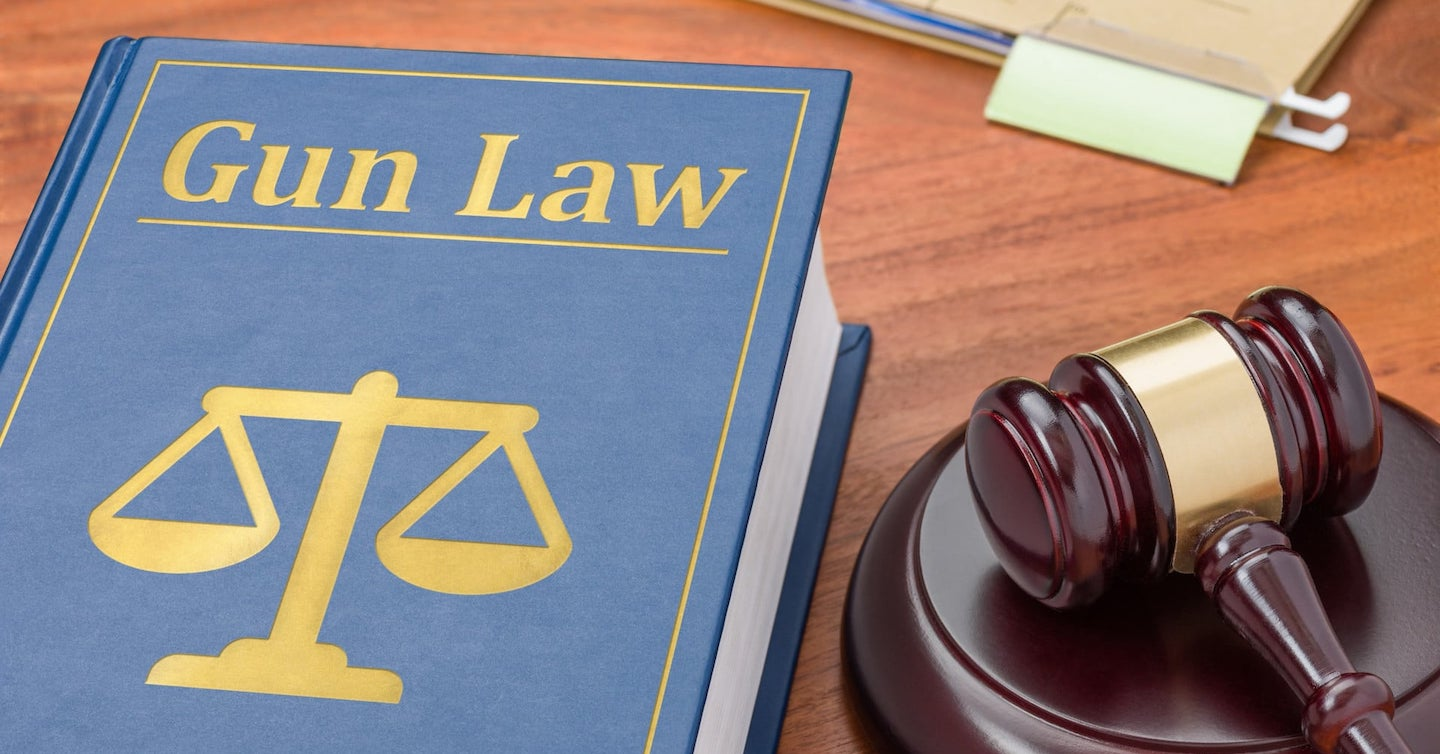 gun law book and a gavel
